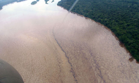 Oil in the Napo river